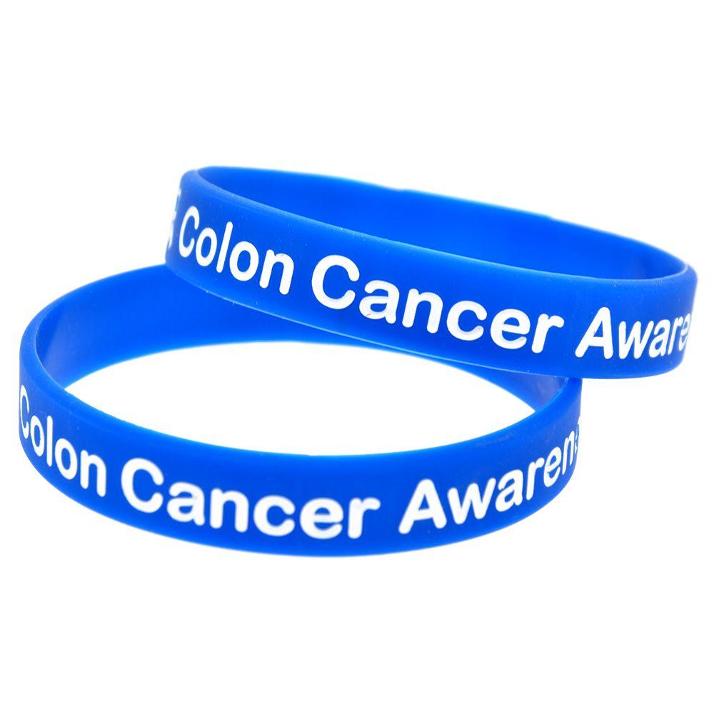 100 stücke Darmkrebs-Bewusstseins-Silikon-Armband durch Tragen Sie diesen Schmuck als Erinnerung im täglichen Leben