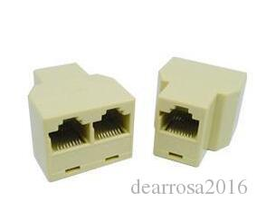 RJ45 Network Cable Splitter 1 Female to 2 Female F/F Ethernet Connector Couplers CAT5 Wire Modular Jack Socket Adapter