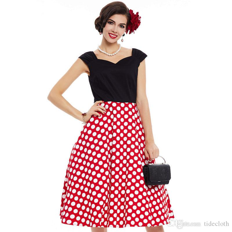 Compre Vintage Lady Lady 1950s Vestido Cap Manga Rojo De Lunares ...