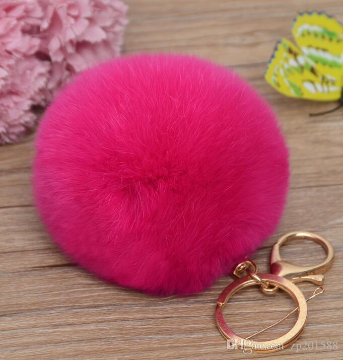 Echte Kaninchenfell Ball Keychain weiches Fell Ball schöne Gold Metall Schlüssel Com Poms Plüsch Schlüsselanhänger Tasche Schmuck Bijoux Zubehör Valentinstag Geschenk