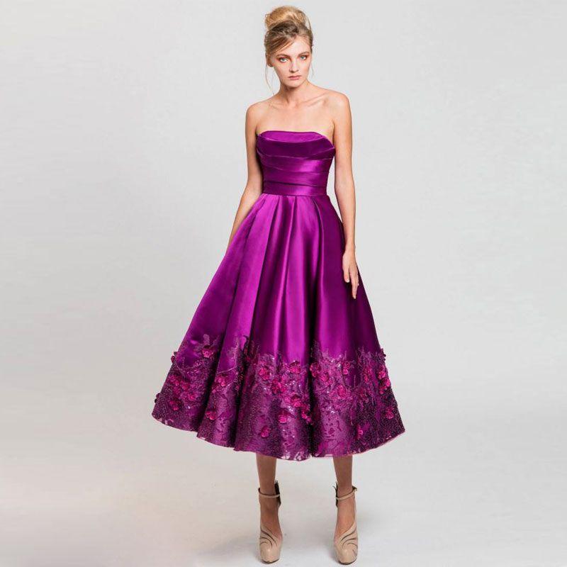 2017 Purple 3D Appliques Homecoming Dresses For Juniors Strapless Neck Sequins Short Prom Gowns Tea Length Satin Formal Cocktail Dress