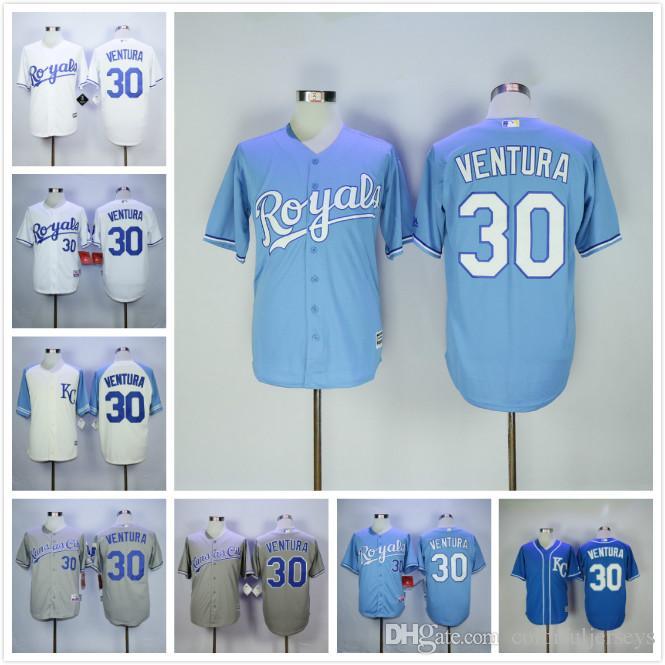 4d260135513 ... Kansas City Royals 30 Yordano Ventura Jersey Flexbase Coolbase  Throwback Baseball Jersey White Grey Blue Cream ...