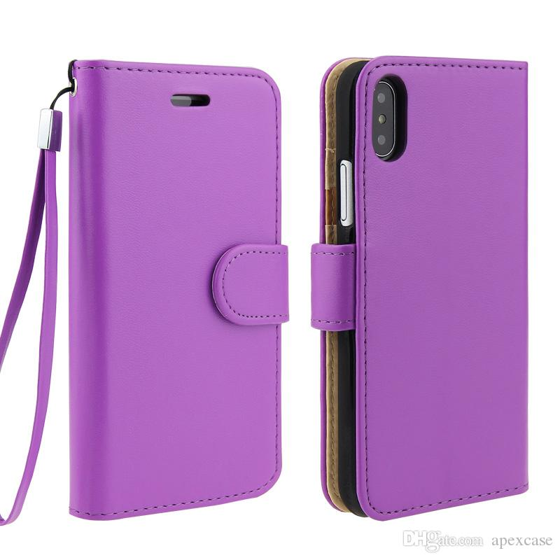 High Quality PU leather Card Slot Wallet Phone Case Vintage Retro Flip Kickstand Cases For iPhone X 8 5s 6s plus 7 7plus with string