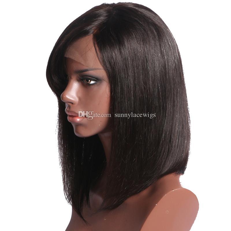 Kurze Bob Lace Front Perücken indisches Menschenhaar mit Pony Non-Remy natürliche Farbe volle Spitze 10-14 '' Perücken für schwarze Frauen 130% Dichte