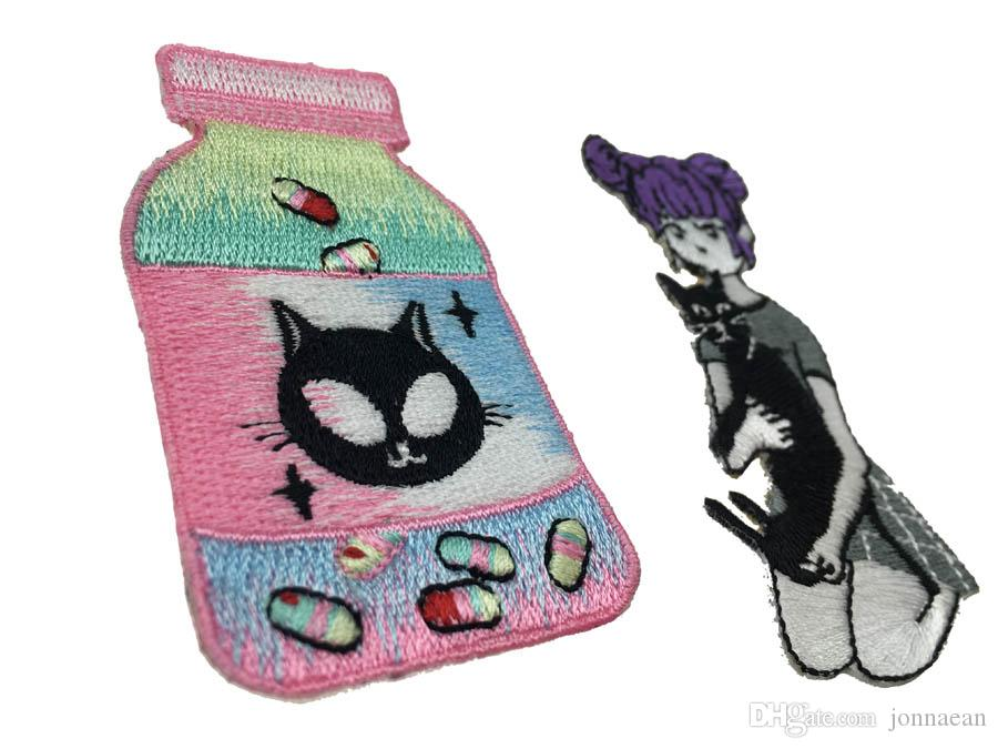 For A Cute Girl With Black Cat DIY Applique Customise Embroidered Iron Sew On Jacket or Bag Cap Patches