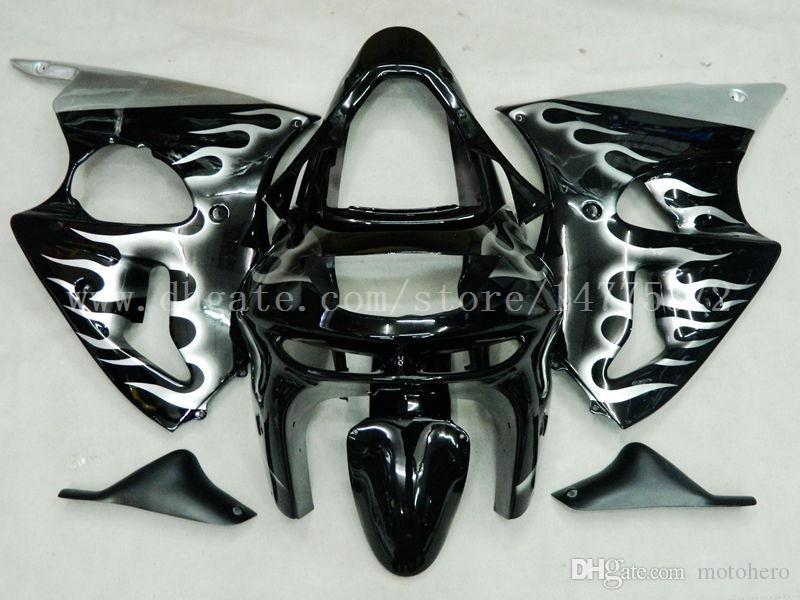 Brand new fairings+gifts for Kawasaki NINJA ZX 6R 1998 1999 ZX-6R 98-99 ZX6R 1998-1999 ZX6R 98-99 fairing kit #e73j3 Black flame
