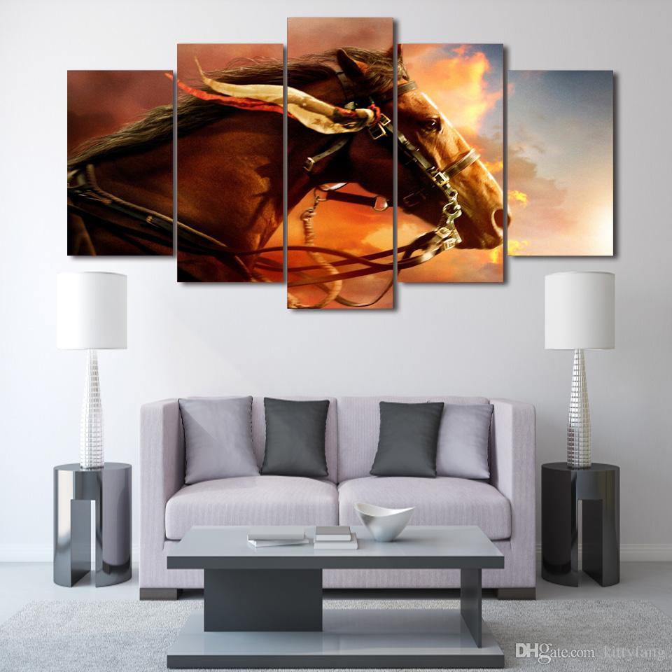 5 Adet / takım Çerçeveli HD Baskılı Günbatımı At Hayvan Duvar Sanat Tuval Baskı Poster Tuval Resimleri Modern Boyama
