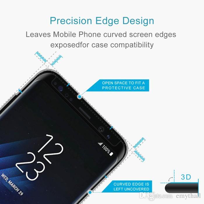 Para el protector de pantalla S9 Cubierta completa 3D Vidrio templado curvo Protector de pantalla Estuche Amistoso para la Nota 9 S8 Plus S7 Edge S6 con caja al por menor