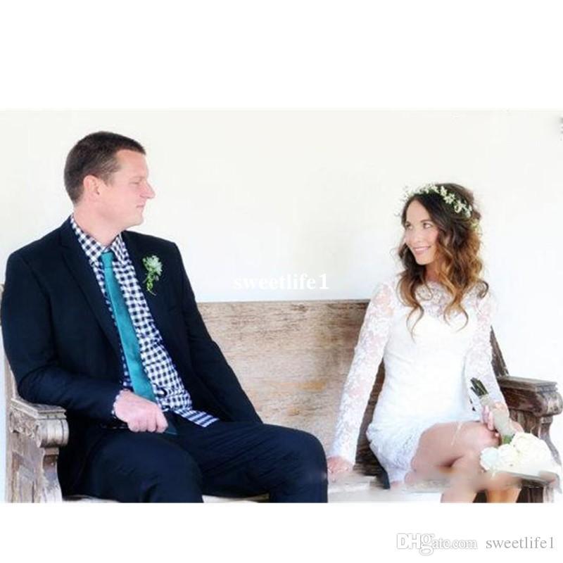 Lace Short Brautkleid High Neck Button Backless knielangen Mantel Brautkleider mit Illusion Long Sleeves Brautkleider