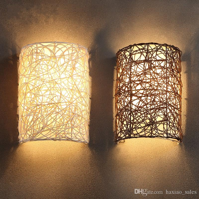 Online Cheap Wholesale 30cm Height Handmade Rattan Wall Lamp White ...