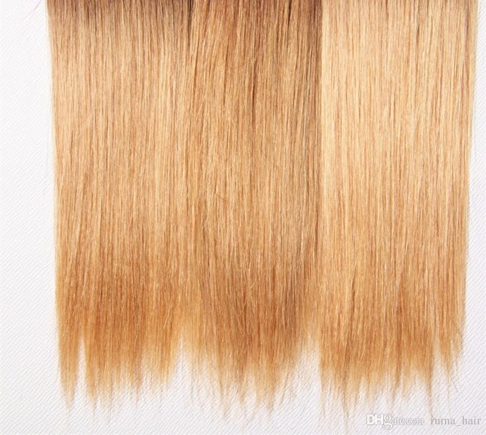 Cheap 1b 4 27 Ombre Brazilian Virgin Straight Hair 3 Bundles Short Ombre Blonde Bob Hair Weave Three Tone Hair Extensions