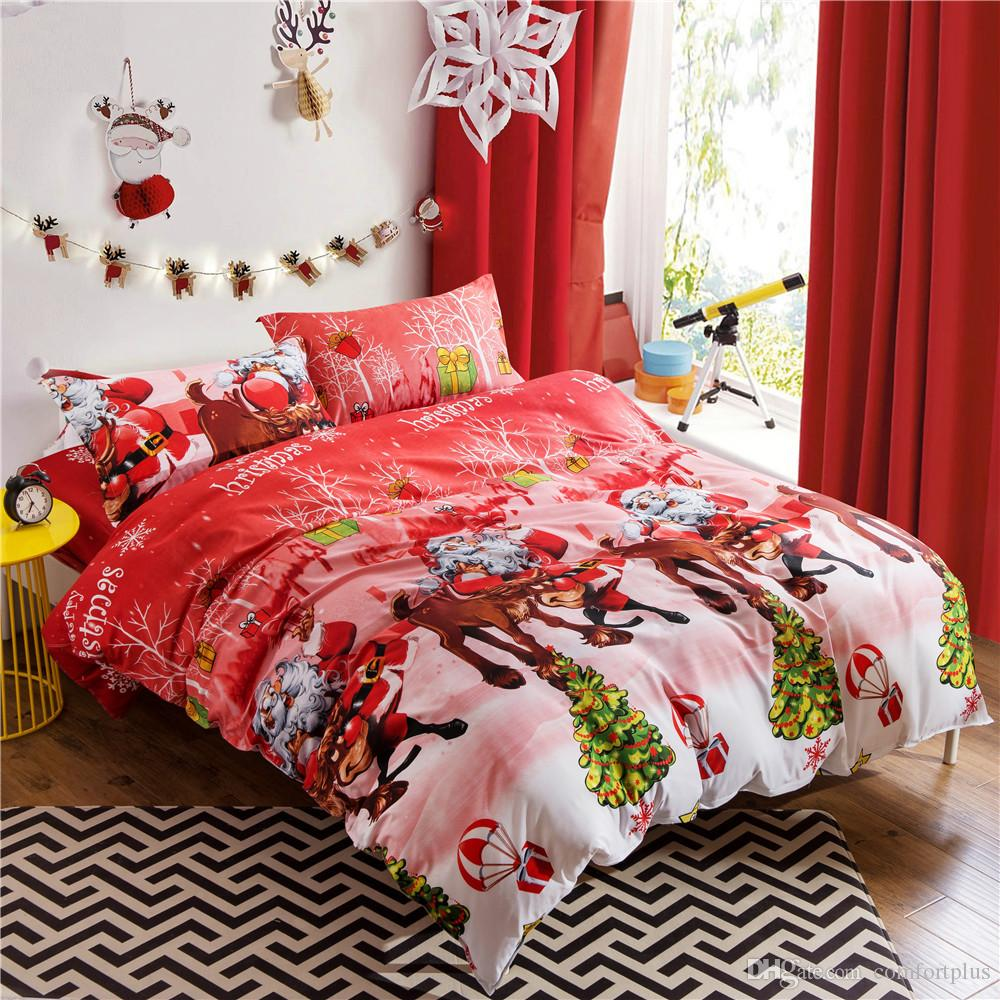 Happy Christmas Duvet Cover Sets 3D Cartoon Kids Children Bedding Sets Santa Claus Gift Duvet Cover & Pillowcase Twin Queen King Size