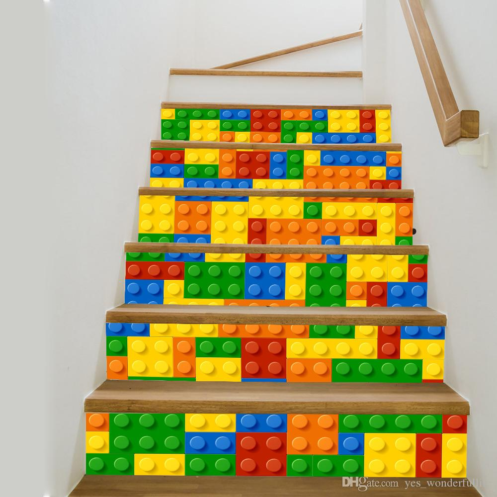 Creative diy 3d lego stair stickers for kids room living room creative diy 3d lego stair stickers for kids room living room stairs decoration kindergarten floor decals wall sticker personalized wall decals wall art amipublicfo Gallery
