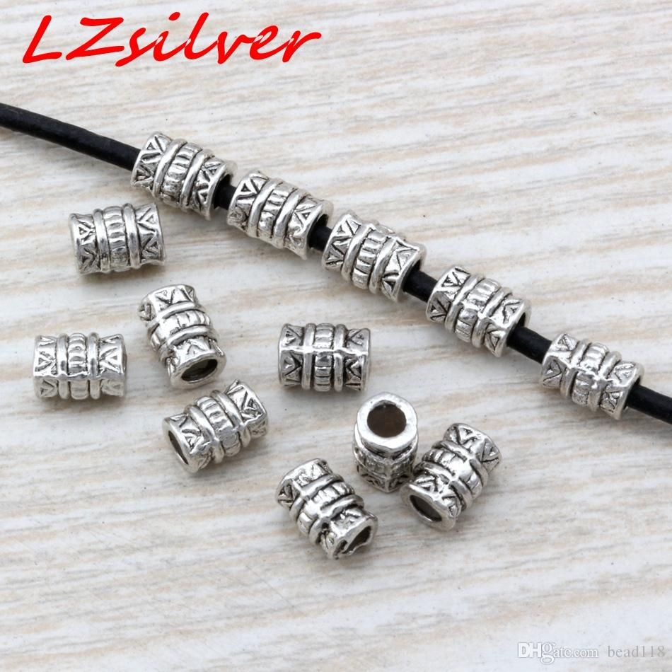 100Pcs Tibetan Silver Spacer Bail Beads Charms For Jewelry Making 7x5mm