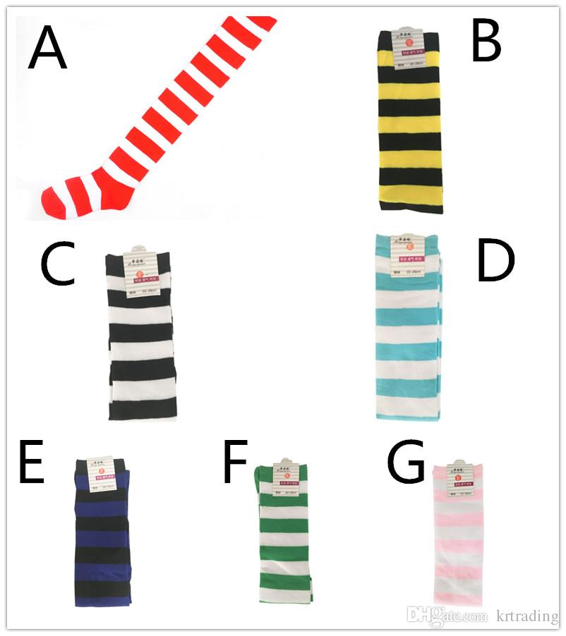 Colorful striped over-the-knee socks red yellow blue black white striping stockings cheer team socks cosplay props for teenage adult