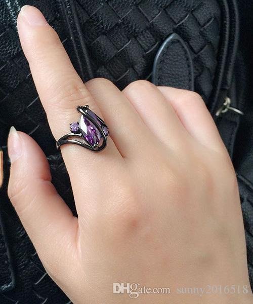 Luxo Sapphire Roxo Zirconia Gun Black Alloy Banda Anéis para As Mulheres Da Moda Festa Anel de Noivado Jóias Lady Presentes tamanho 7,8,9,10