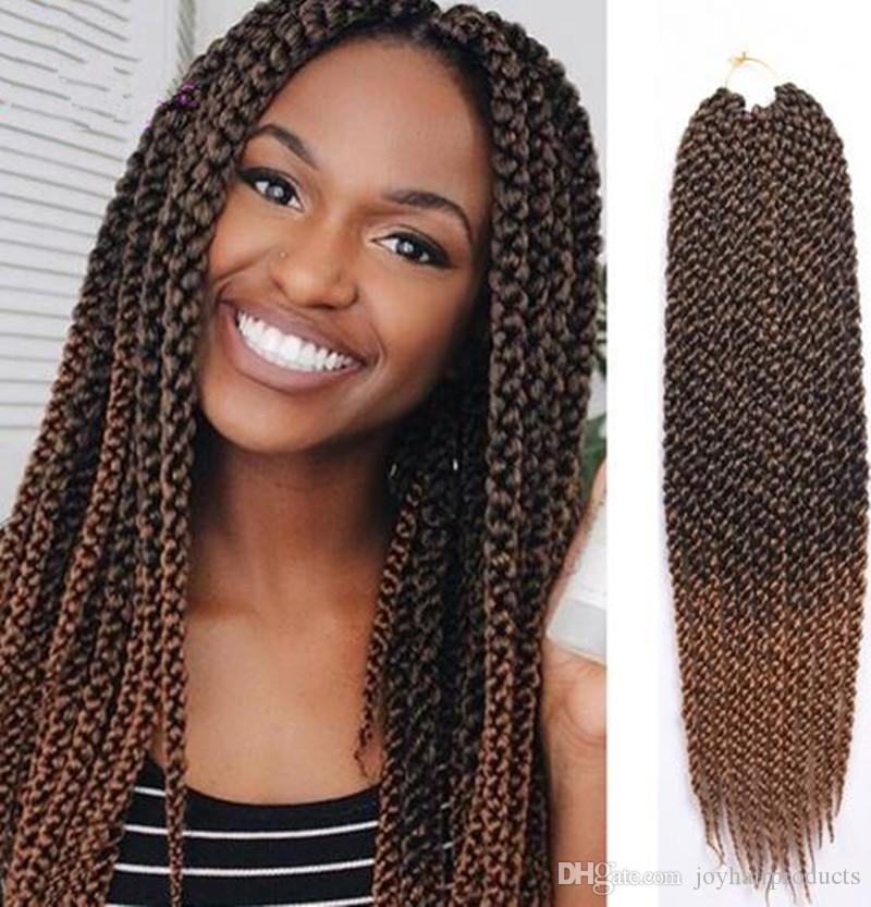 2019 High Quality 3d Cubic Twist Crochet Braids Ombre Brown Color
