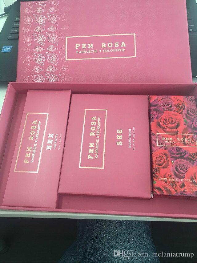 NUEVO ColourPop Fem Rosa Set de sombra de ojos +Highlighter + Mate lápiz labial DHL Envío gratis
