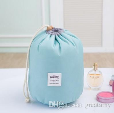 Mix New Korean elegant large capacity Barrel Shaped Nylon Wash Organizer Storage Travel Dresser Pouch Cosmetic Makeup Bag For Women