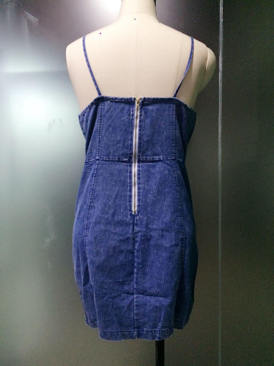 Summer Europe Women Sexy Spaghetti Strap V Neck Backless Zipper Party Denim Jeans Dress Fashion Sleeveless Beach Dress