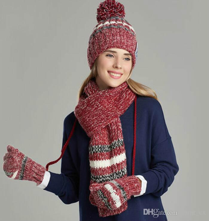 e2e7c2ea049 2019 Woman Winter Hat And Gloves Sets Cotton Fashion Women Hat Scarf Gloves  Set Solid Hat And Scarf Set For Women Knitted From Cumt cx
