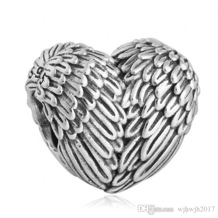 Silber Angelic Federn Charm Perlen für europäische Frauen Armbänder 925 Sterlingsilber-Engels-Flügel-Herz-Korn-DIY Sommer Fine Jewelry HB371
