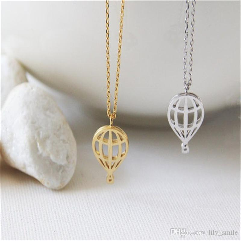 New Trendy Jewelry Wholesale Hot Air Balloon Necklace Cute and Sweet Sky Balloon Necklace For Birthday Gift Dainty Sparkly Gift