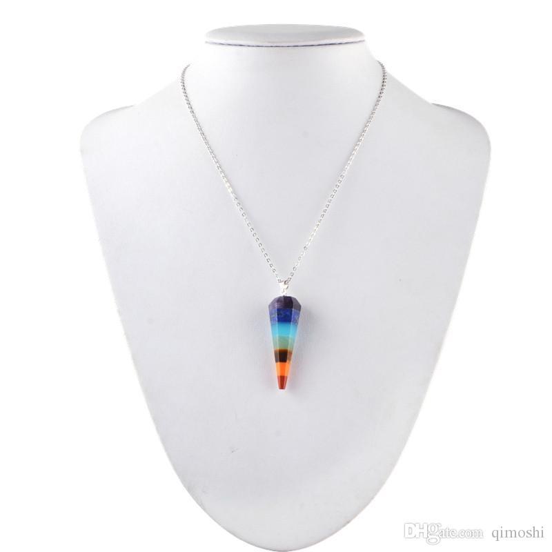 7 chakra stein yoga halskette roh quarz natürliche steine dowsing pendel halsketten reiki regenbogen schmuck frau geschenk