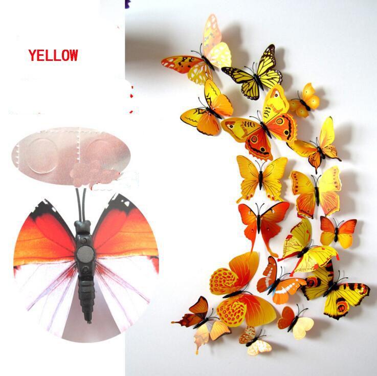 Umweltfreundlich Cinderella Schmetterling 3D Schmetterling Dekoration Wand-Aufkleber 12st Schmetterlinge Schmetterling PVC-entfernbare Wand-Aufkleber Butterflys