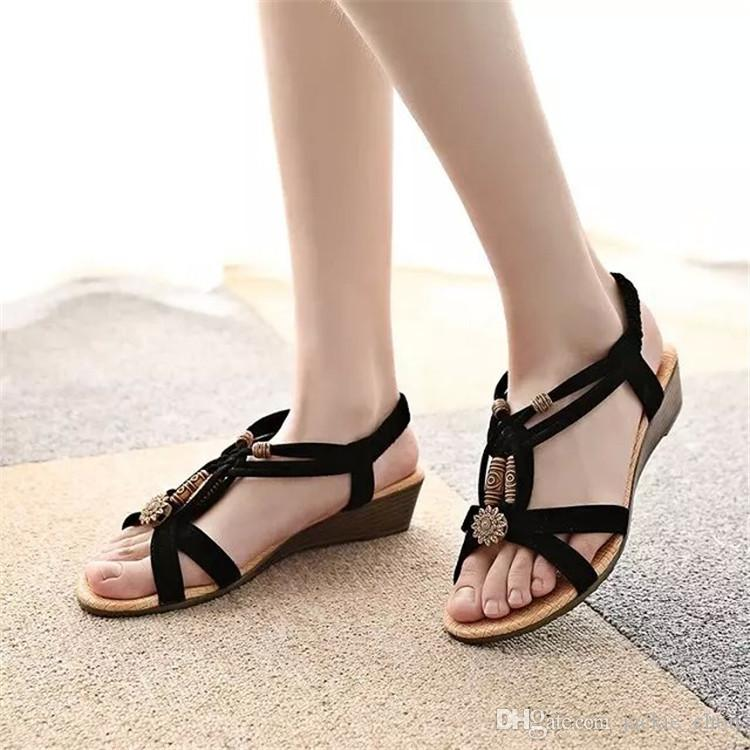 925d27d12b4f8 Large Size Women Summer Wedge Shoes Brand Bohemia Style Beaded Sandals Open  Toe Black Flip Flops Shoes 1503 Cute Shoes Leather Sandals From  Jackie chou