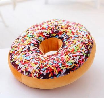 New 3d Large Round Donut Cushion Plush Pillow Nap Cute Food Pillows Thick Seat Cushion Soft Stuffed Doughnut Children Room Decorations Toys