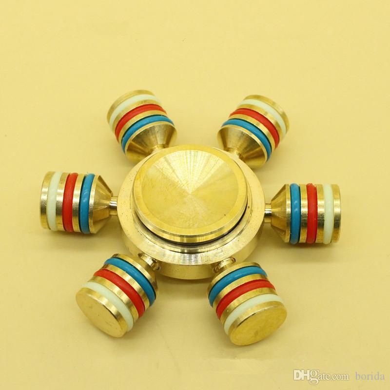 Fidget HandSpinner Fingertips Spiral Fingers Gyro Pure Brass Copper Hand Spinner EDC Toys Luminous Circle on Pillars With Retail Bags