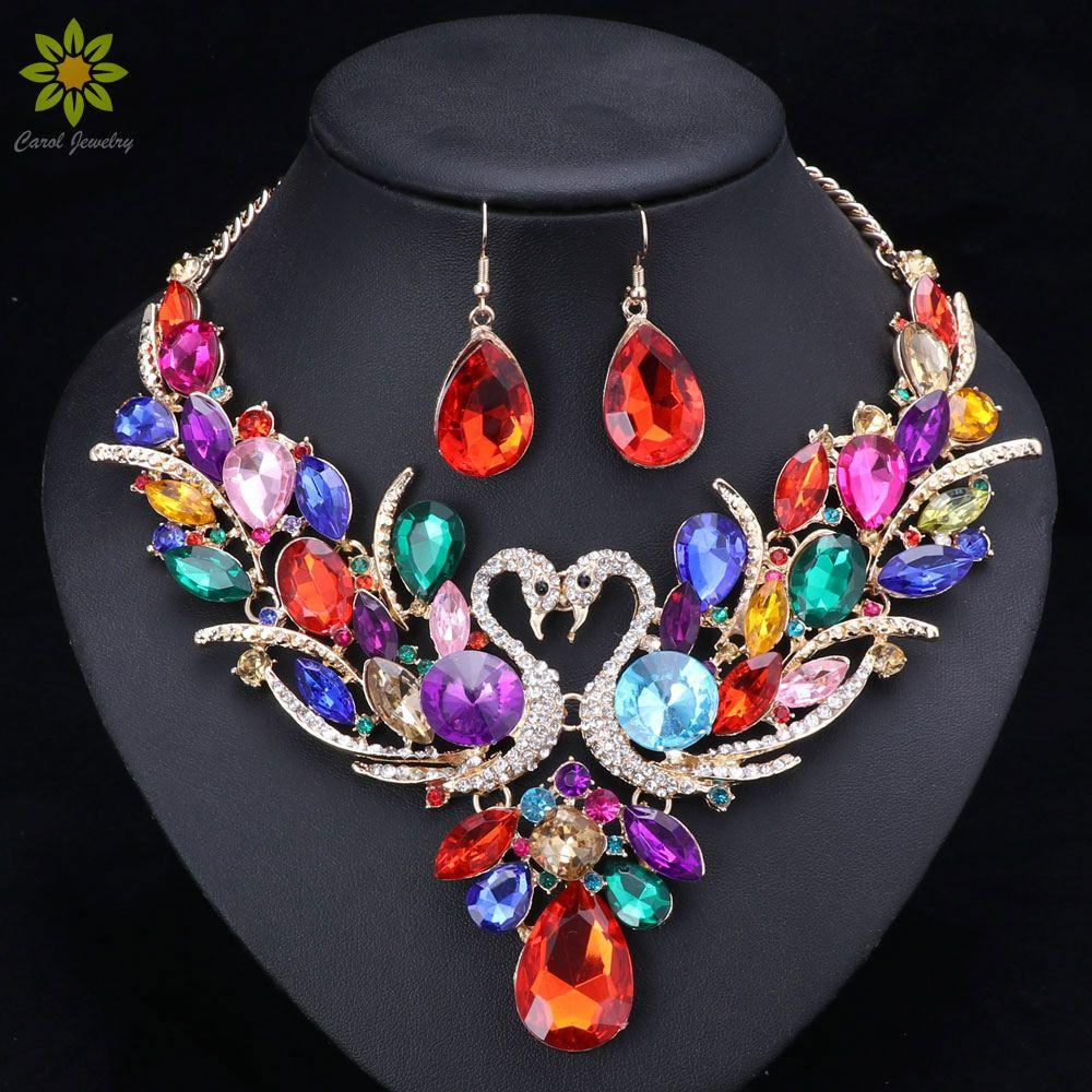 2018 Crystal Bridal Jewelry Sets GoldSilver Plated Swan Pendant