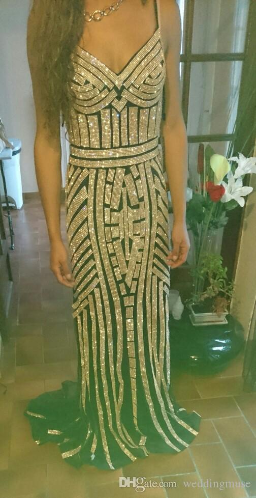 2020 New Sexy sirène équipée robes de soirée chérie bretelles spaghetti Blinbgbling Paillettes Vestidos De Fiesta Prom Party Robes