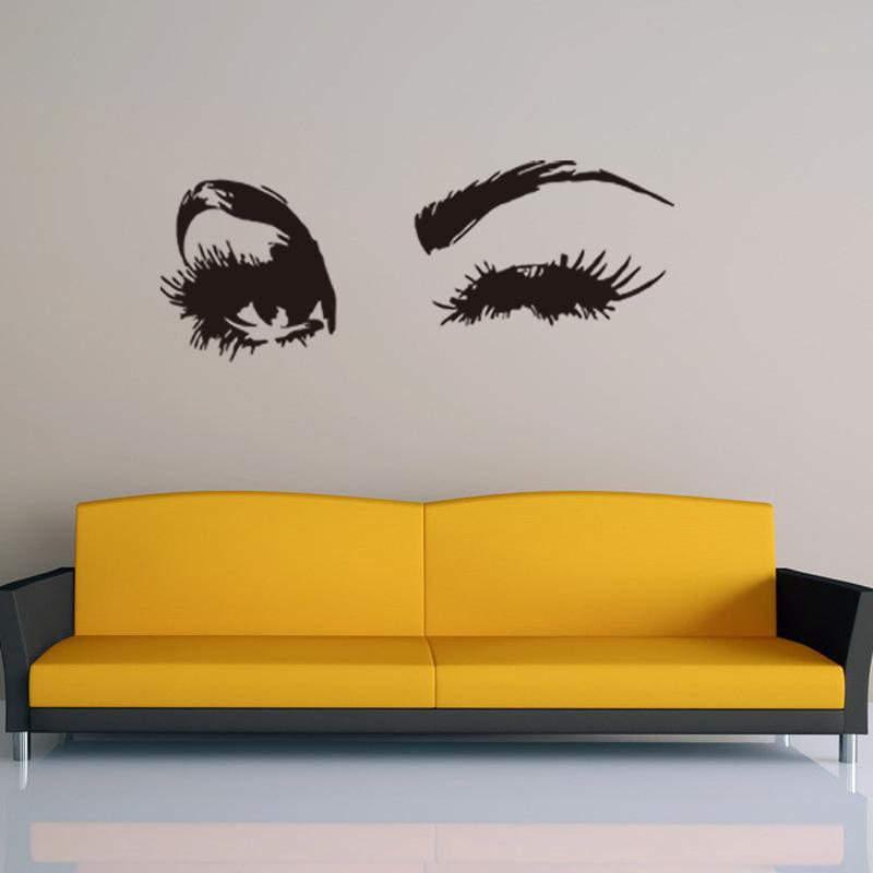 26x69cm Beautiful Girl Eyes Peel And Stick Vinyl Wall Stickers ...