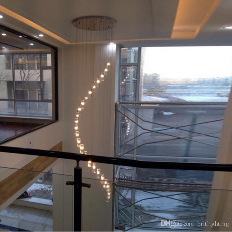 Exceptionnel Led Indoor Stair Lighting Fixtures Crystal Chandelier Lighting Long Led  Crystal Chandelier Modern Staircase Dining Room Crystal Chandeliers Drum  Shade ...