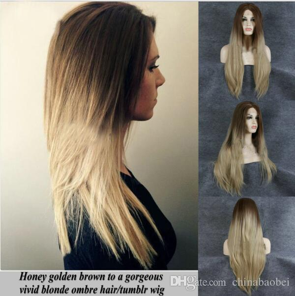 Natural Long Synthetic Heat Resistant Wigs Ombre Honey Golden Brown