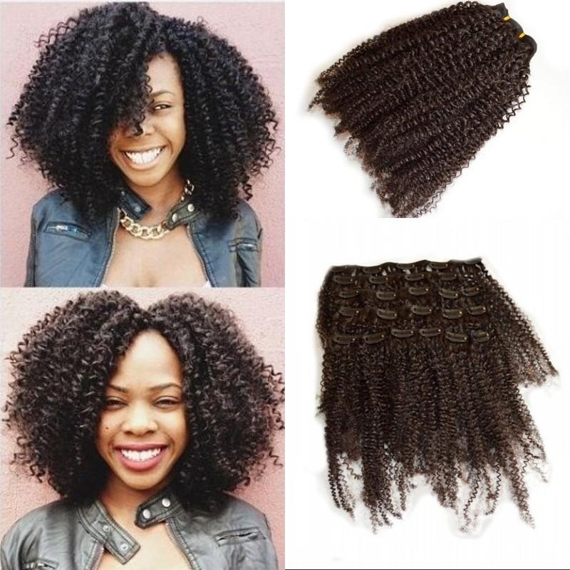 Full Head Afro Kinky Curly Clip In Human Hair Extensions 8 24 Inch