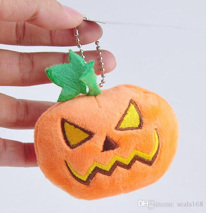 9cm Halloween Pumpkin Plush Toys Soft Stuffed Doll Keychain Pendant Cell Phone Bag Key Rings With Sucker Gifts HH-T40
