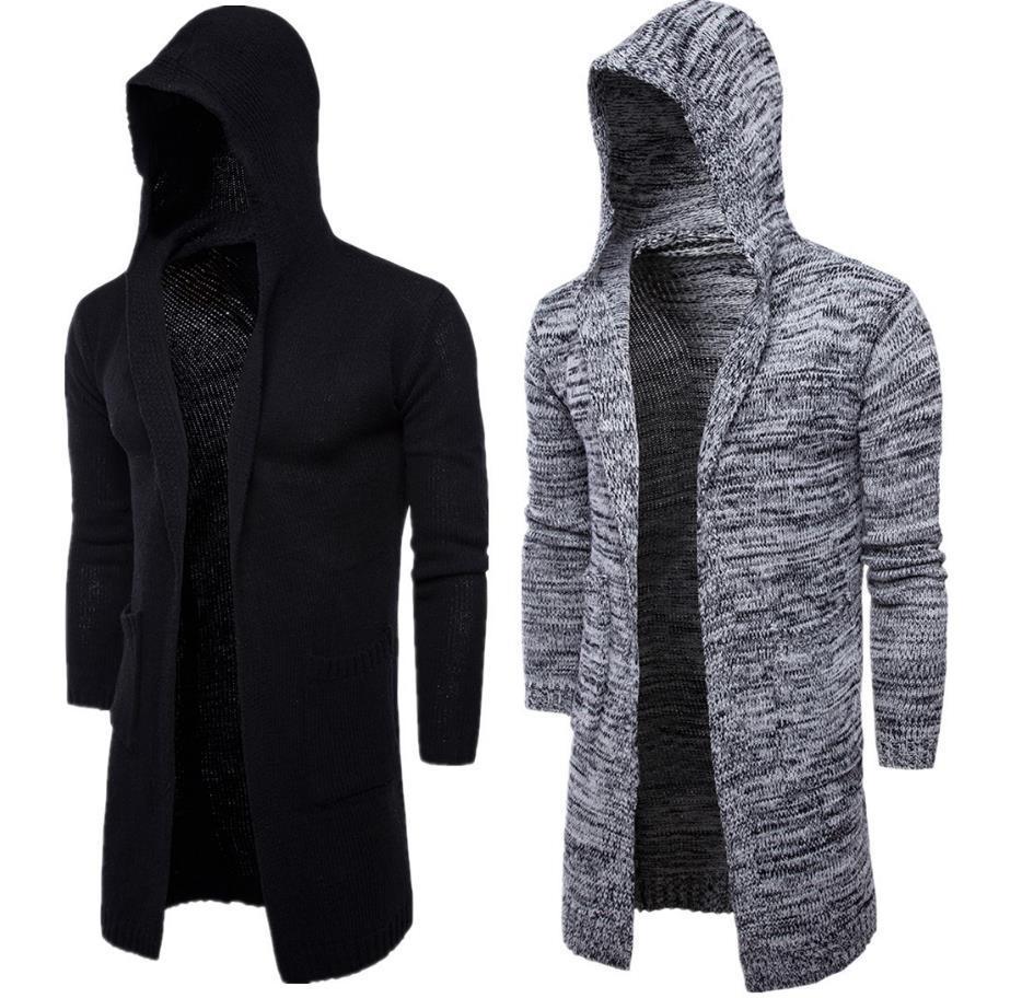 İki Büyük Cepler Örme Kazak Hoodie Erkekler Hırka Kapşonlu Uzun Kollu Tasarım Kısa Stil Adam Slim Sweatshirt Ücretsiz Gemi Için Slim Fit