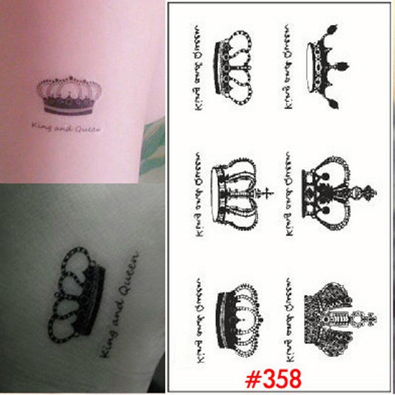 Wholesale 1 Sheet Elegant Queen Crown Tattoo Design Temporary Tattoo