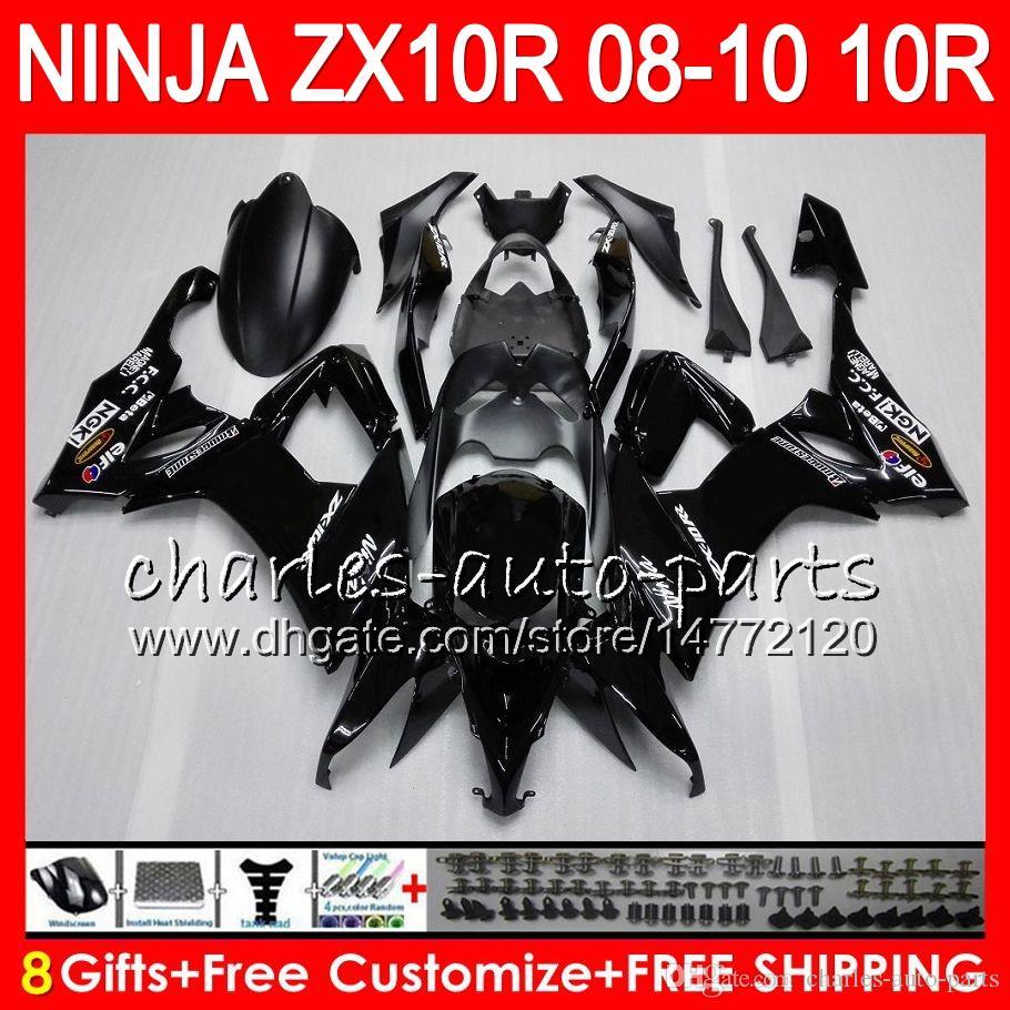 8Gifts Body For KAWASAKI NINJA ZX1000C ZX10R 08 09 10 47HM22 Factory black ZX1000 C ZX 10 R ZX-10R ZX 10R 2008 2009 2010 Fairing kit