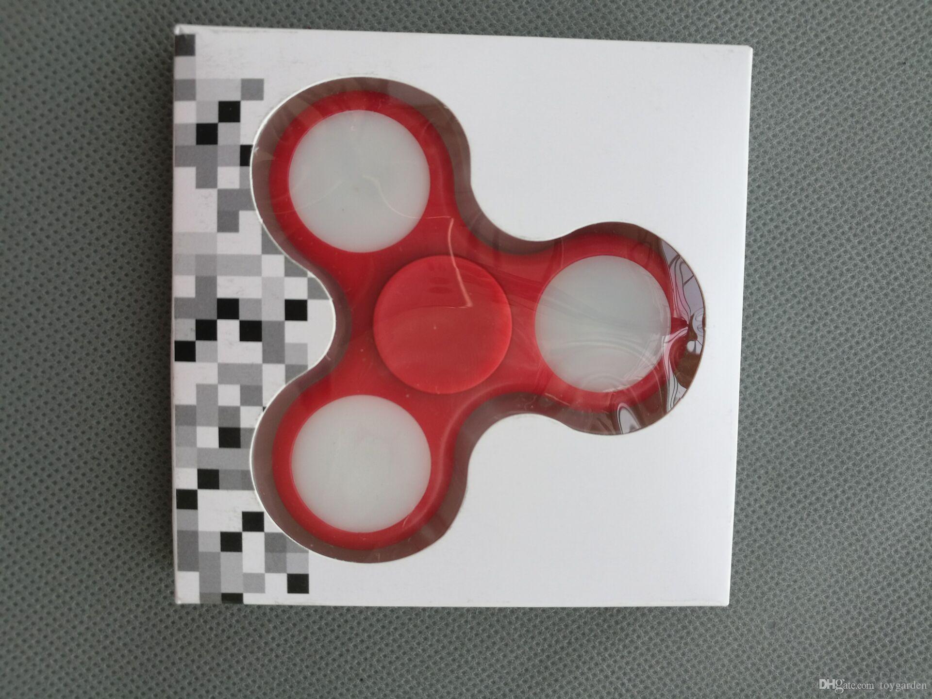 verkaufen Sie LED helles Handfinger-Spinner-Zappeln-Plastik-EDC-Handspinner für Autismus und ADHS-Entlastungs-Fokus-Angst-Druck spielt Geschenk #E