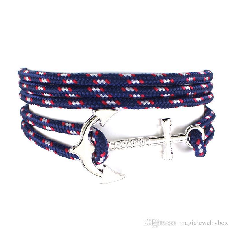 Mode New Silver Anchor Wrap Bracelet Femmes Multilayer Paracord Bracelet corde pour hommes espoir amitié Bracelets Bijoux cadeau en gros