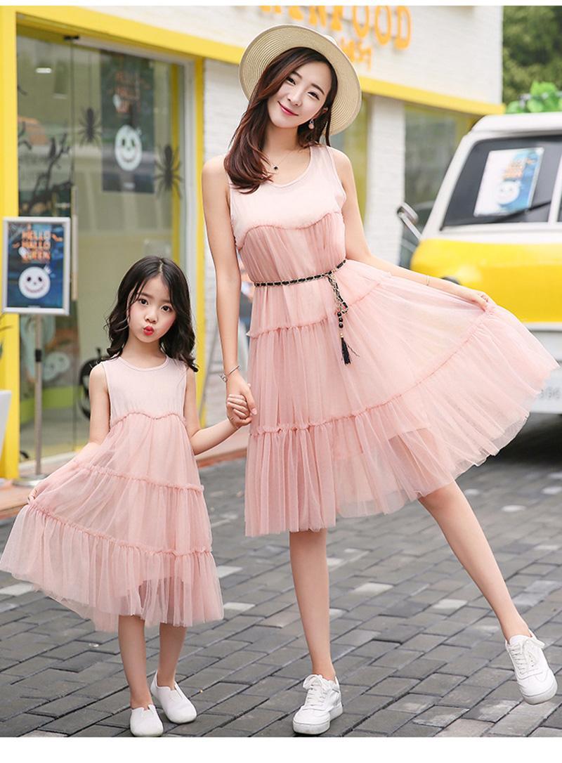 afef7b3f42c9 Mom Daughter Matching Dresses Chiffon Pink Tutu Skirt Sleeveless ...