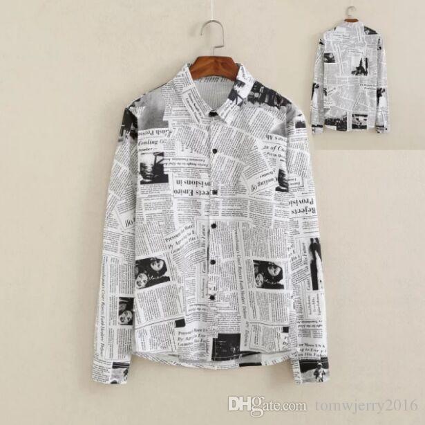 2019 New Metrosexual Personality Slim Men S Clothing Male Vintage Fashion  Newspaper Printing Art Long Sleeved Shirt Boy Casual Tops M L XL XXL From  ... e6a6b4f88