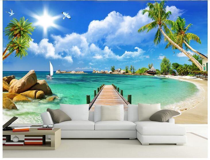 Carta da parati 3d foto personalizzata Non tessuto murale Ocean Beach Ponte di legno decorazione della stanza pittura immagine 3d parete muals carta da parati pareti 3 d
