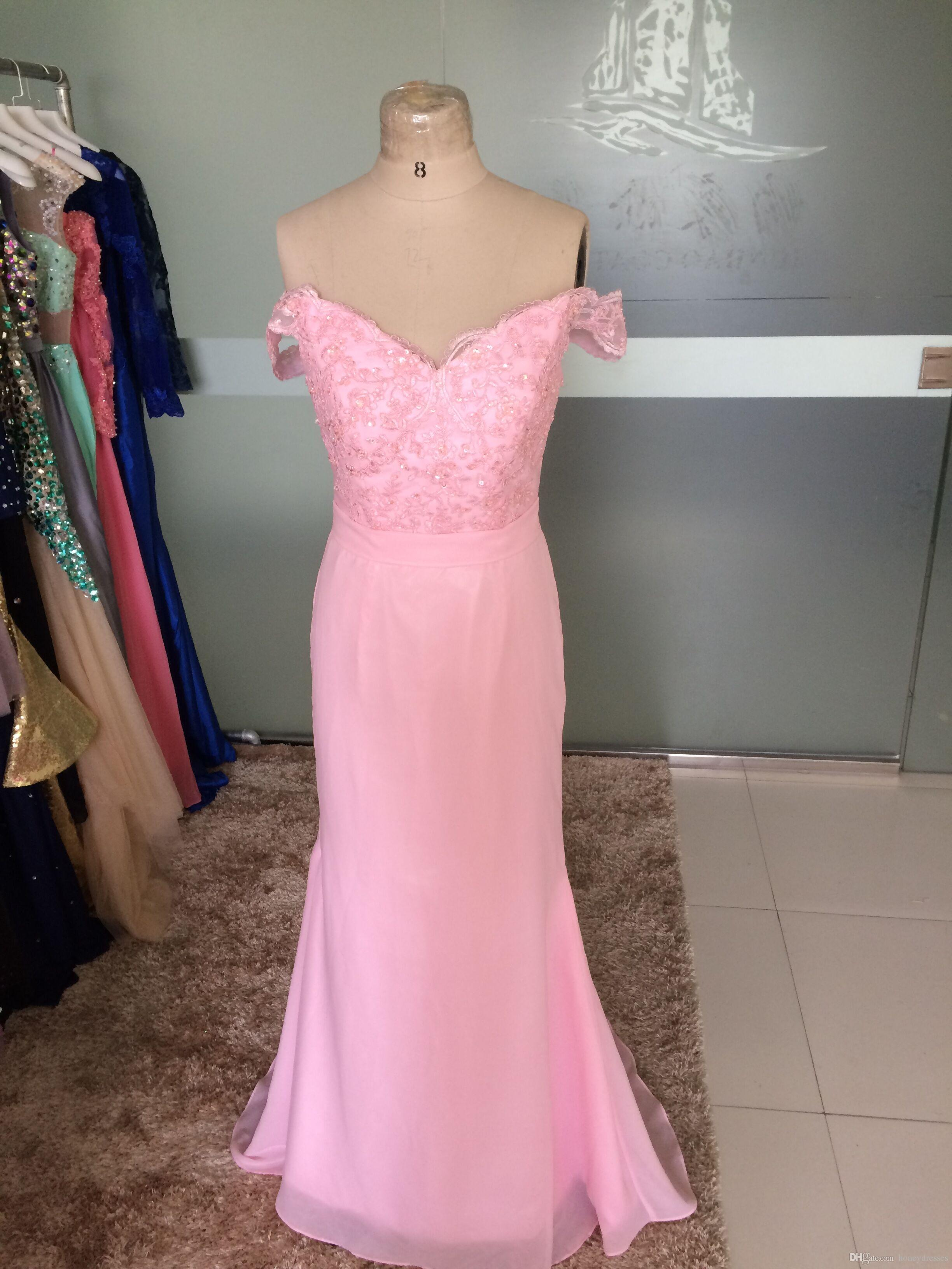 Real Photos Pink Prom Dresses 2017 V-Neck Short Sleeve Backless Sweep Train Chiffon and Top Lace Beaded Party Evening Dresses