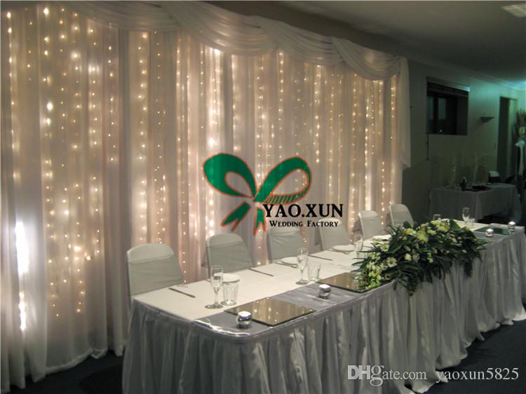 Marvelous White Wedding Backdrop Curtain With Led Light And The Pipe Stand Free  Shipping