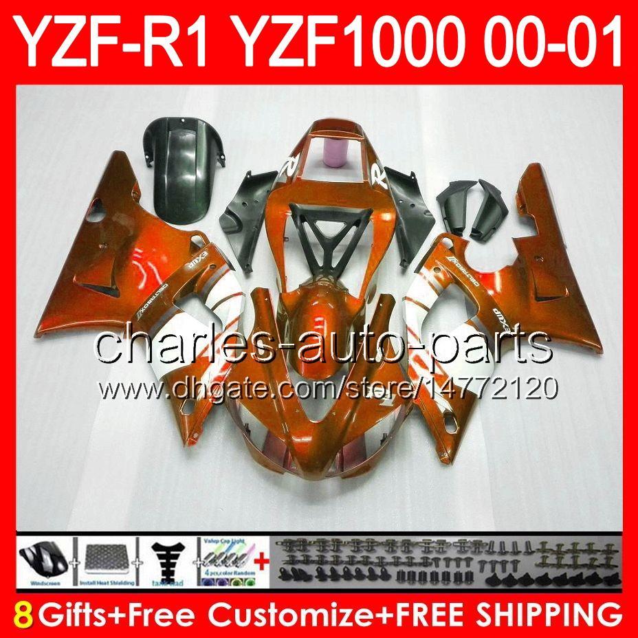8gifts gloss orange Body YAMAHA YZF R1 00 01 YZF1000 YZF-R1 00-01 91NO63 YZF 1000 YZF-1000 YZF R 1 YZFR1 2000 2001 arancione nero Carenatura